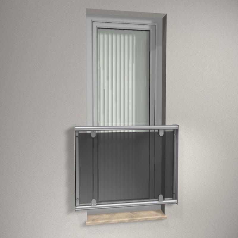 Edelstahl Fenstergitter R Line - ESG grau (auf Fassade)