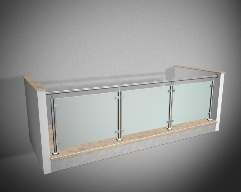edelstahlgel nder r line verbundglas vsg esg milchig in klemmhal. Black Bedroom Furniture Sets. Home Design Ideas
