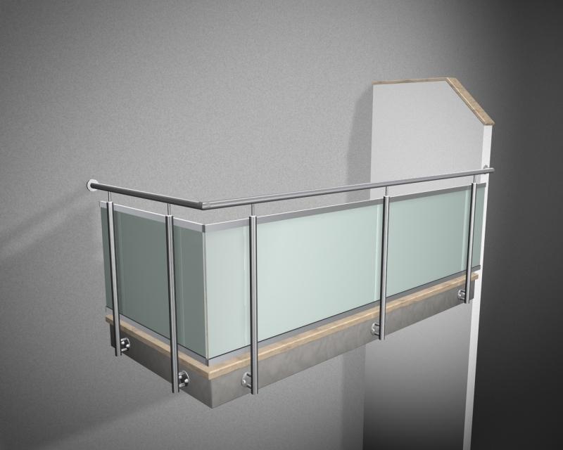 edelstahlgel nder r line verbundglas vsg milchig in u schien. Black Bedroom Furniture Sets. Home Design Ideas