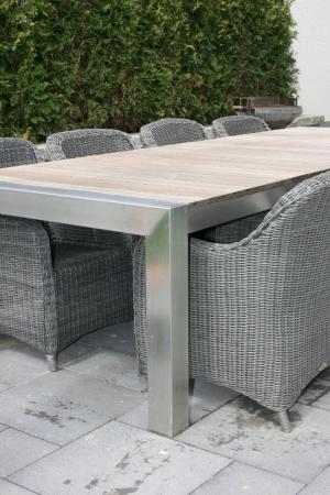 Gartentisch Edelstahl Mit Holzplatte.Edelstahl Gartentisch Mammut Bis 100x320cm