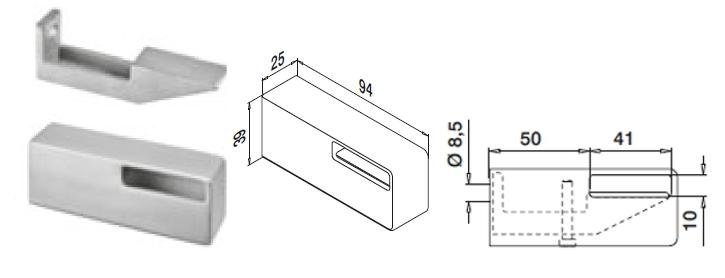 Konsolenmaße eckiger Edelstahl Handlauf 40x10